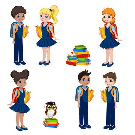 Schoolchildren with backpacks and books on white Vecteurs