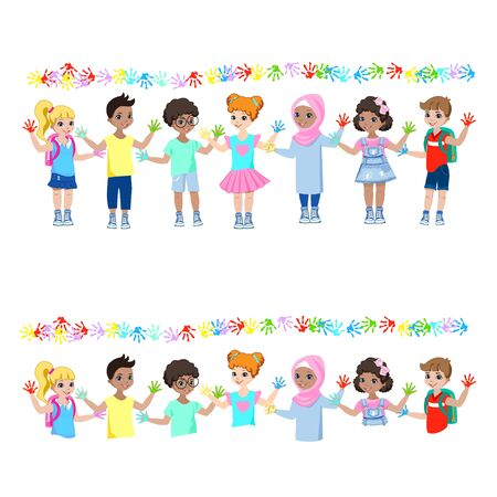 Happy children show hands in paints and paint on the wall  イラスト・ベクター素材
