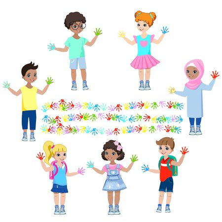 Happy children show hands in paints and paint on the wall.  イラスト・ベクター素材