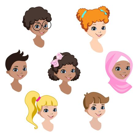 Faces of happy children of different nationalities. Set of avatars stickers. Vector illustration isolated on a white background.