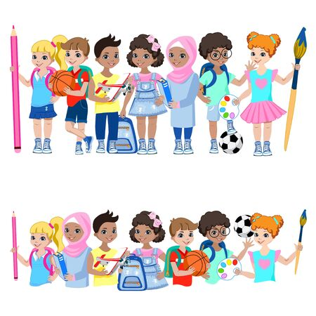 Happy children of different nationalities.  イラスト・ベクター素材