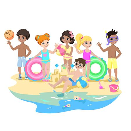 Happy kids play on the beach. Summer vacation by the sea. Children in swimsuits with rubber rings and balls wave handles. Vector illustration.  イラスト・ベクター素材