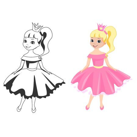 Beautiful princess in a crown and a puffy dress and outlined picture for coloring book on white background. Cute little fairy girl. Vector illustration.