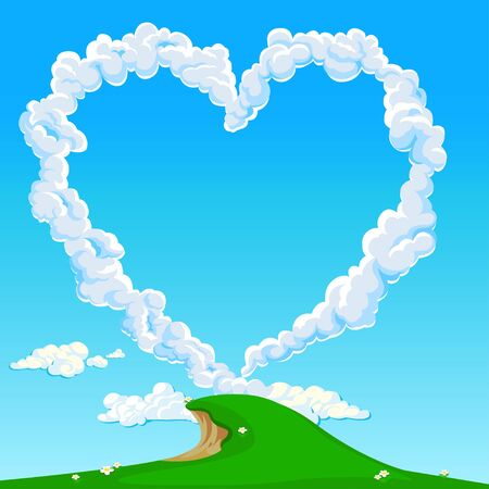 Heart in the sky from beautiful clouds. Love Valentine's Day. illustration.