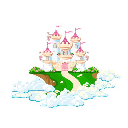 The magical castle of a beautiful princess in the clouds. Beautiful fairy tale illustration. illustration.