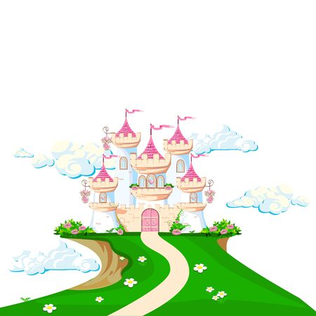 The magical of a beautiful princess in the clouds. Beautiful fairy tale castle illustration. illustration.  イラスト・ベクター素材