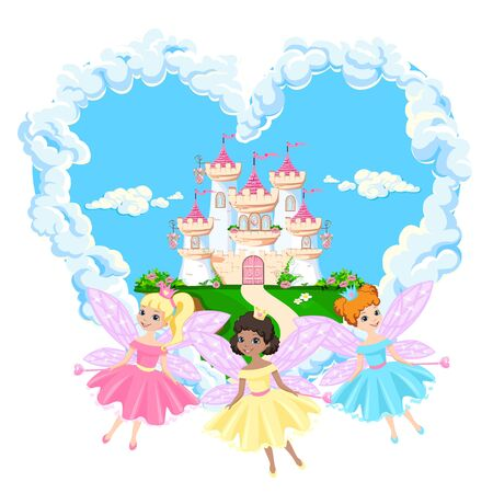 The magical castle of a beautiful princess in the clouds. Beautiful fairy tale castle illustration. illustration.  イラスト・ベクター素材