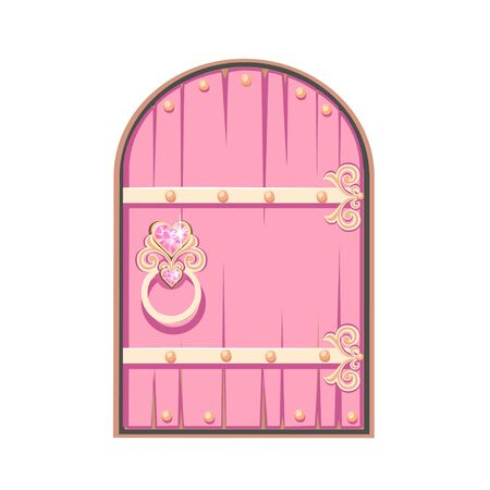 Fairytale pink door of a beautiful princess. Antique door with forged decorations. Cartoon style.  illustration isolated on a white background.  イラスト・ベクター素材