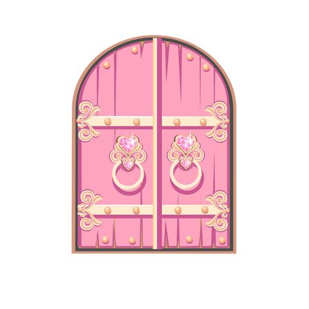 Fairy tale pink door of a beautiful princess. Antique door with forged decorations. Cartoon style. illustration isolated on a white background.