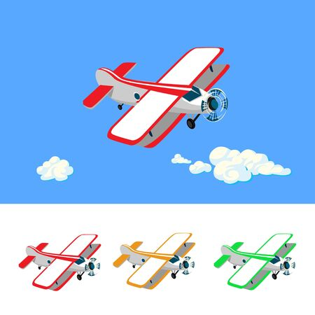 Set of colorful airplanes in cartoon style. illustration isolated on white background.  イラスト・ベクター素材