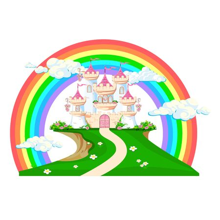 The magical castle of a beautiful princess in the clouds. Beautiful fairy-tale castle illustration.  illustration.