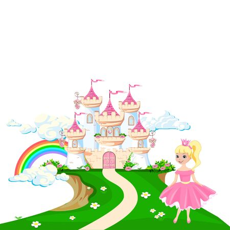 The magical castle of a beautiful princess in the clouds. Beautiful fairy tale castle illustration. illustration. Illusztráció
