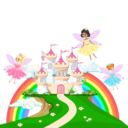 The magical castle of a beautiful princess in the clouds. Beautiful fairy tale castle illustration.  illustration.