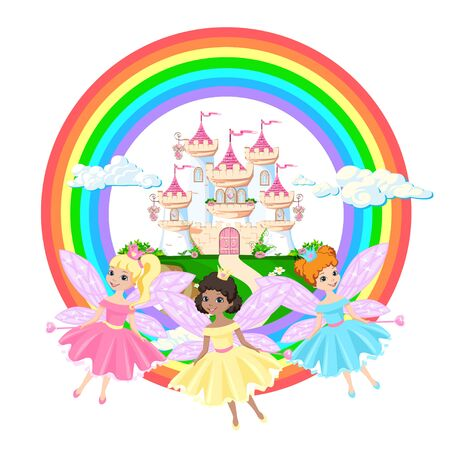 The magical castle of a beautiful princess in the clouds. Beautiful fairytale castle illustration. Vector illustration.  イラスト・ベクター素材