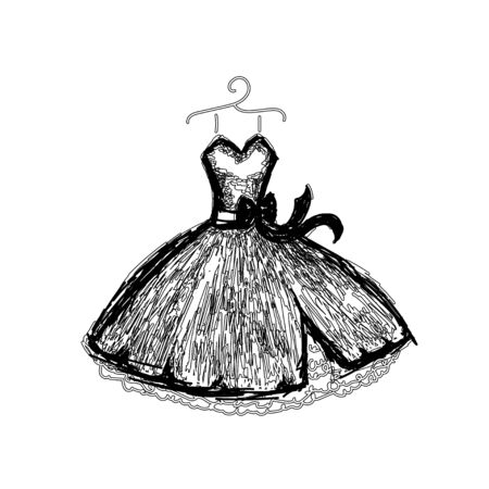 Beautiful evening dress with linesdress. Dress on a hanger. Outline of clothes. Vector illustration.  イラスト・ベクター素材