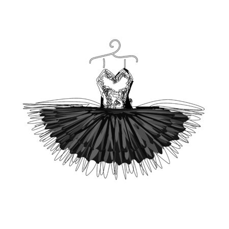 Beautiful evening dress with lines dress. Dress on a hanger. Outline of clothes. illustration.