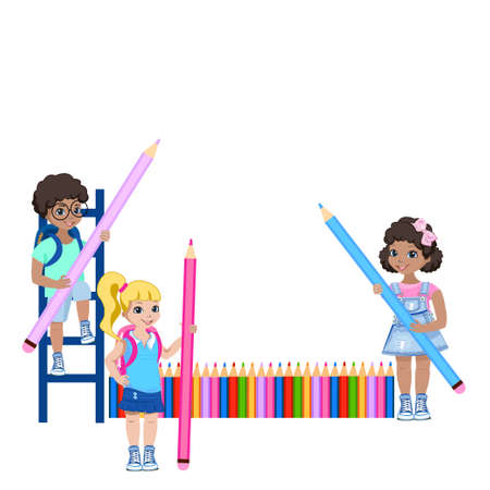 Happy children of different nationalities draw on the wall. Preschool creativity. Colorful illustration in cartoon style isolated on white background.