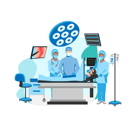 Surgical operation in the operating room. Medical equipment for surgical operations. Thanks to the doctors and nurses. Vector illustration isolated on a white background. Stock Illustratie