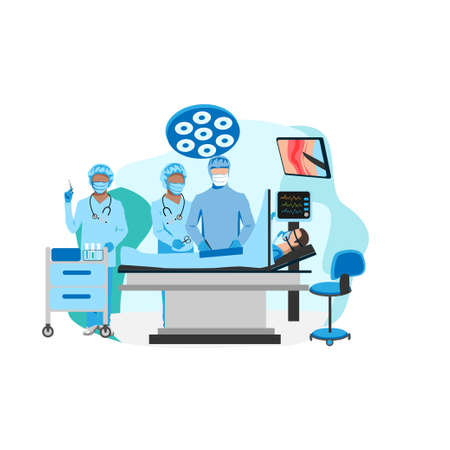 Surgical operation in the operating room. Medical equipment for surgical operations. Thanks to the doctors and nurses. Vector illustration isolated on a white background.  イラスト・ベクター素材