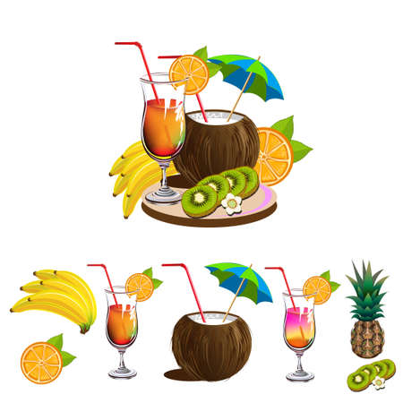Set of fruits and cocktails for a beach bar. Cocktail glasses, pineapple, kiwi, orange, banana and coconut. Vector illustration isolated on white background.  イラスト・ベクター素材