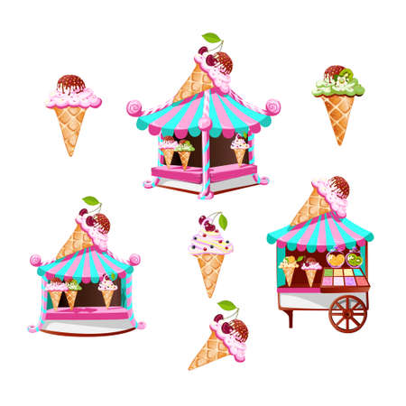 A set of ice cream stall with tasty decor and miscellaneous ice cream. Isolated illustrations in cartoon style. Templates for decorating invitations and advertising. Vector illustration.