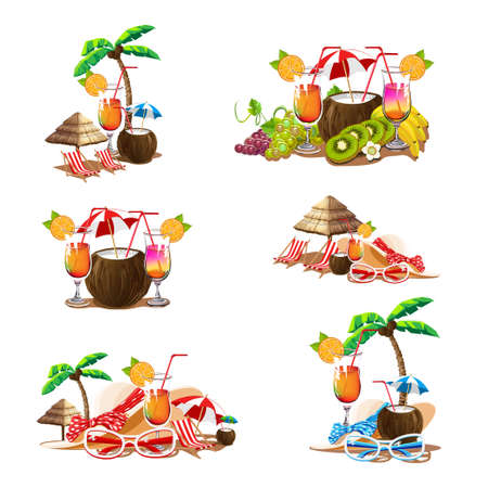 Set of banners with the image of the beach bar, the sea, cocktails, a deck chair, parasols, sun glasses, and a summer hat. Templates for invitations and advertising. Vector illustration in cartoon sty  イラスト・ベクター素材