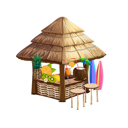 Beach bar with cocktails by the sea. Summer vacation on the beach. Cartoon style. Templates for invitations and advertising. Vector illustration.