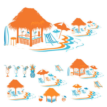Set of beach bar silhouettes with cocktails by the sea. Summer vacation on the beach. Templates for invitations and advertising. Vector illustration.