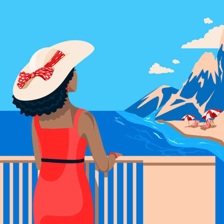 Girls in a hat with a bow and in a tight dress looks at the sea. Flat illustration on summer background. Travel and rest by the sea. Template for invitations, brochures and posters. 矢量图像