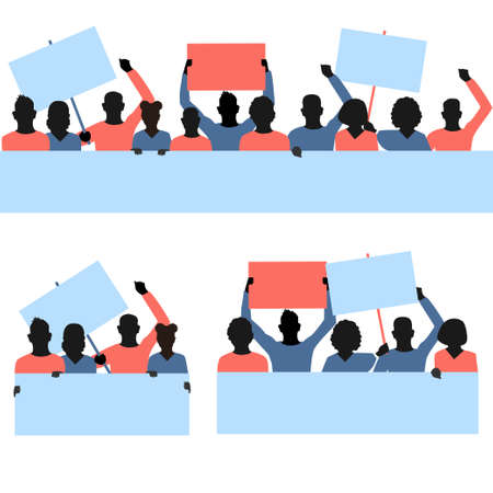 Vector set of protesters people with blank banners in their hands. Men and women of different nationalities are participating in the revolution, political protest or mitting. Flat illustrations on whi Vektorgrafik