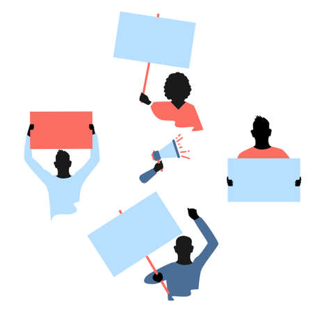 Vector set of protesters people with blank banners in their hands. Men and women of different nationalities are participating in the revolution, political protest or mitting. Flat illustrations on whi
