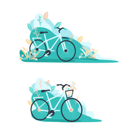 Collection of flat illustrations bike stands in the park. Environmentally friendly transport. Vector illustrations for landing pages or banners.