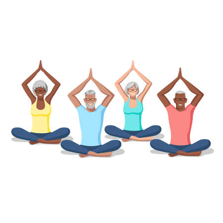 Active men and women of different nationalities and ages practice yoga. Healthy lifestyle. Isolated vector illustration of sports people on a white background.