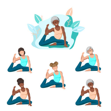 Women of all ages practice yoga in nature and smile. Flat illustrations of people without faces. Turquoise color. A set of vector pictures for banners, invitations or websites.  イラスト・ベクター素材