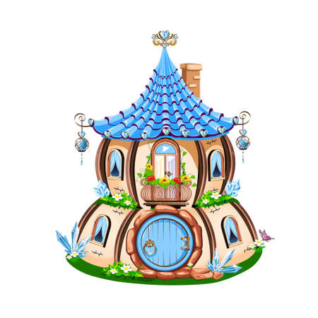 Magic little house decorated with blue crystals. Fairy house. Vector illustration. Stock Illustratie