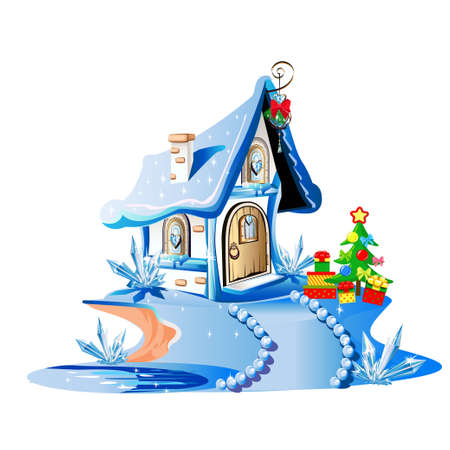 Magic little house decorated for Christmas. House of santa claus. Merry Christmas. Vector illustration.