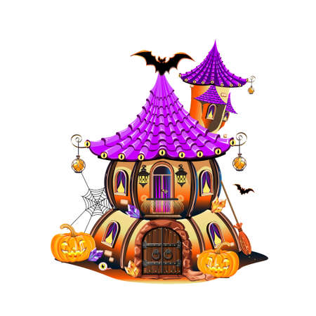 Magic little house for a witch. Happy halloween celebration. Fairy house vector illustration isolated on white background. Stock Illustratie