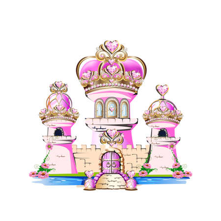 Magic pink castle for a princess with precious ornaments and a crown roof. Vector illustration of a fairytale castle. Stock Illustratie