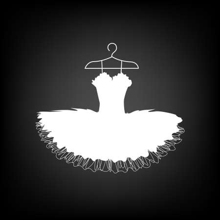 Beautiful ballet tutu on a hanger silhouette. Vector illustration of a dress for a dancer.