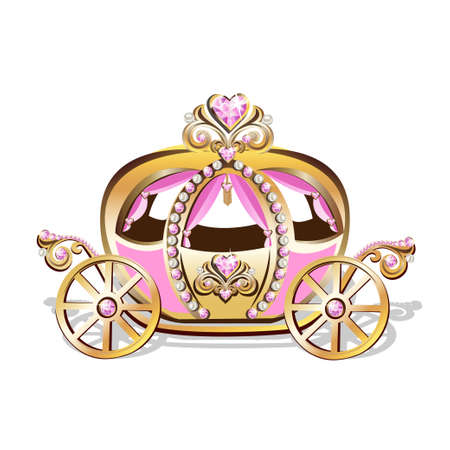 Beautiful princess carriage decorated with pink jewels Fabulous carriage vector illustration isolated on white background.