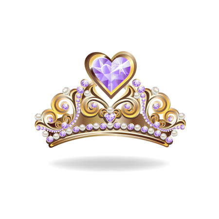 Beautiful golden princess tiara with pearls and jewels. Vector illustration on white background.