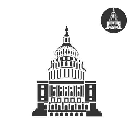 Capitol flat icon on white background. Travel landmark. Architecture of Washington. Vector illustration. Çizim