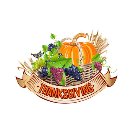 Happy Thanksgiving Day background with pumpkin, grapes and stained glass ribbon. Traditional festival. Vector template for cards and invitations.