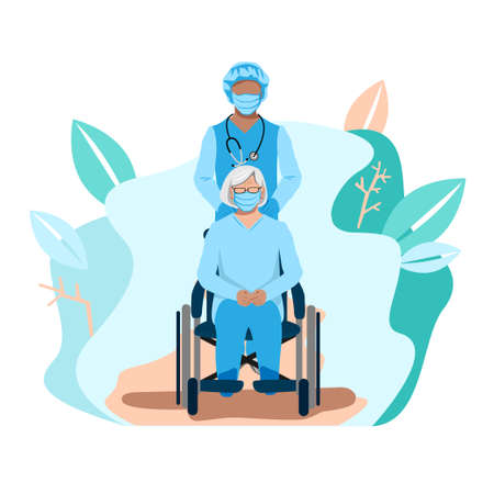 A nurse takes care of the elderly. Medicine. Thanks to the nurses. Vector illustration template.