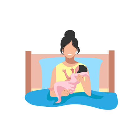Mom with a baby in her arms after childbirth. The joy of motherhood. Thanks to the doctors and nurses. Vector illustration background.