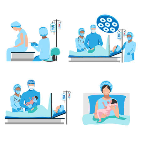 The doctor and nurses perform a caesarean section under epidural anesthesia. Surgery. Obstetrics and gynecology. Thanks to the doctors and nurses. Birth of a child. Set of vector illustrations isolate Stock Illustratie