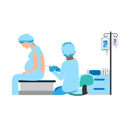The doctor and nurse give an epidural in the operating room. Surgery. Obstetrics and gynecology. Thanks to the doctors and nurses. Vector illustrations on a white background.