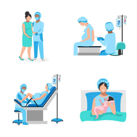 A pregnant woman gives birth to a baby in the hospital. Epidural anesthesia. Thanks to the doctors and nurses. Set Vector illustration isolated on white background.