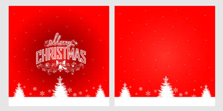 Merry christmas greeting card with inscription, fir trees and snowflakes on a red background. Vector illustration. Stock Illustratie