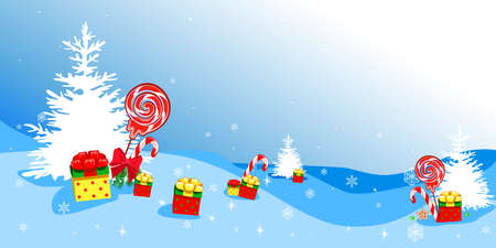 Christmas background from a snowy forest with gifts and sweets. Merry Christmas. Vector illustration. Stock Illustratie
